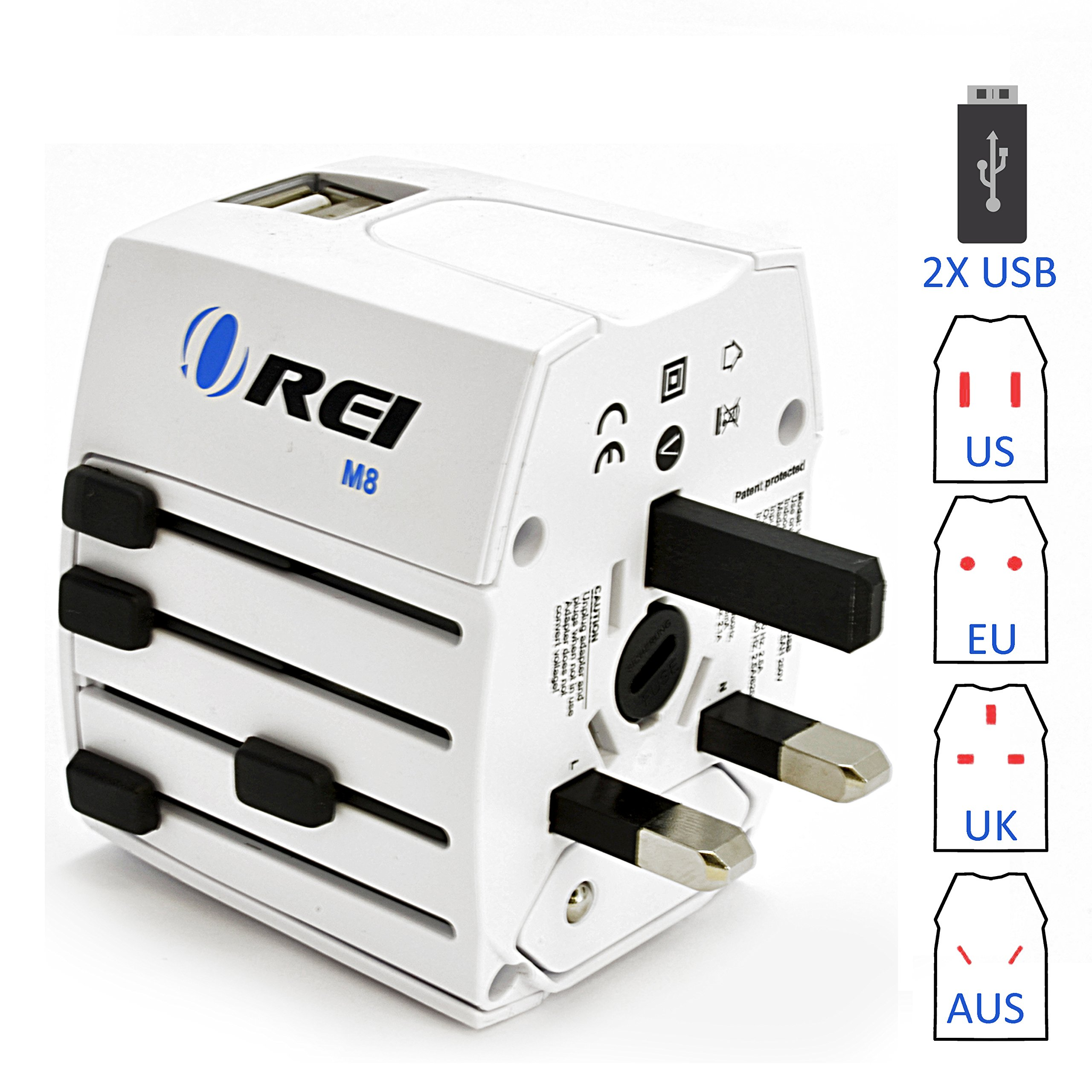 Travel Adapter, OREI Worldwide All in One Universal Power Converters Wall AC Power Plug Adapter Power Plug Wall Charger with Dual USB Charging Ports for USA EU UK AUS Cell phone Laptop by Orei (Image #1)