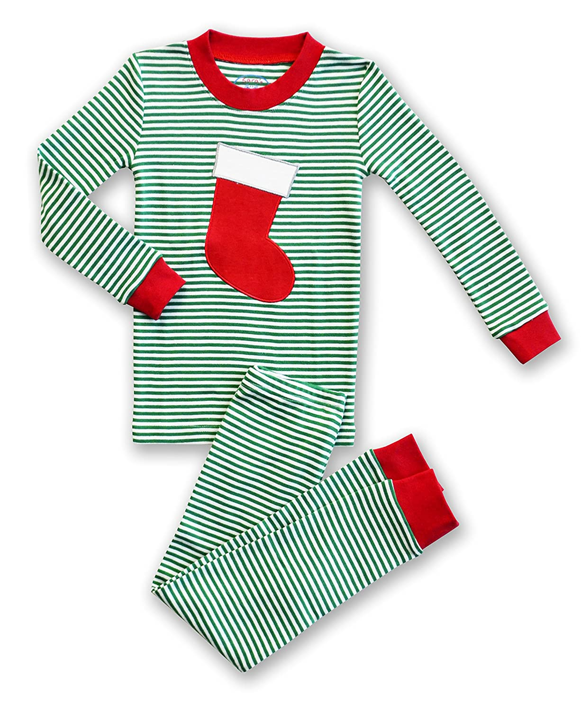 Toddlers Size 3T Saras Prints Unisex Holiday Stocking 2-Piece Long John Pajamas