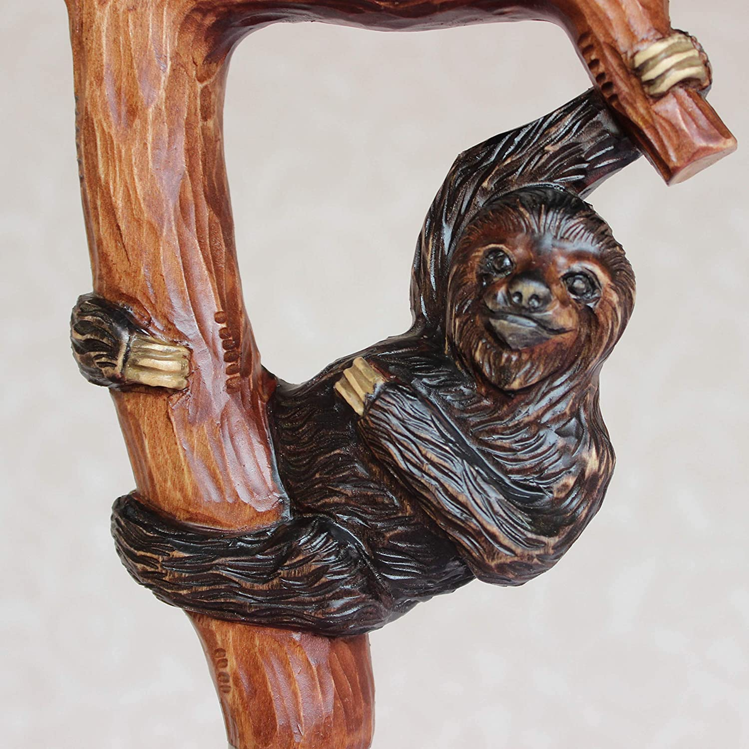 Custom Walking cane with Sloth Hand carved handle and shaft Hiking stick Wooden