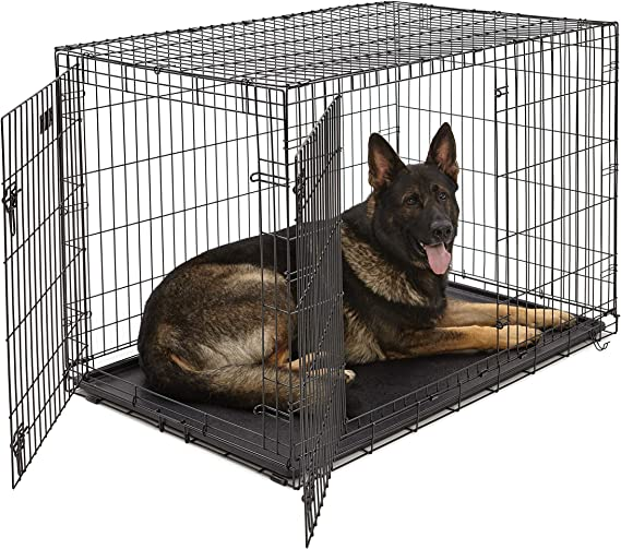 Amazon Com Xl Dog Crate Midwest Icrate Double Door Folding Metal Dog Crate W Divider Panel Xl Dog Breed Black Kong Pet Crate Pet Supplies