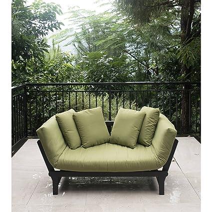 Outdoor Futon Convertible Sofa Daybed Deep Seating Adjustable Patio  Furniture (Green) - Amazon.com : Outdoor Futon Convertible Sofa Daybed Deep Seating