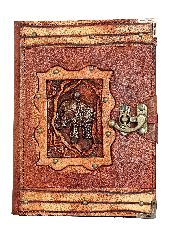 Handgefertigt echtem Schaf Leder nachfüllbar Tagebuch Notizbuch Notizblock Skizzenbuch Skizzenblock Book Schutzhülle Vintage Papier Uni Frauen Herren Kinder Office Produkt Geschenk Elefant Stables Row