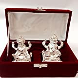 Swagger Pair Of Lakshmi And Ganesha Silver Plated Hand Crafted Idols Figurines