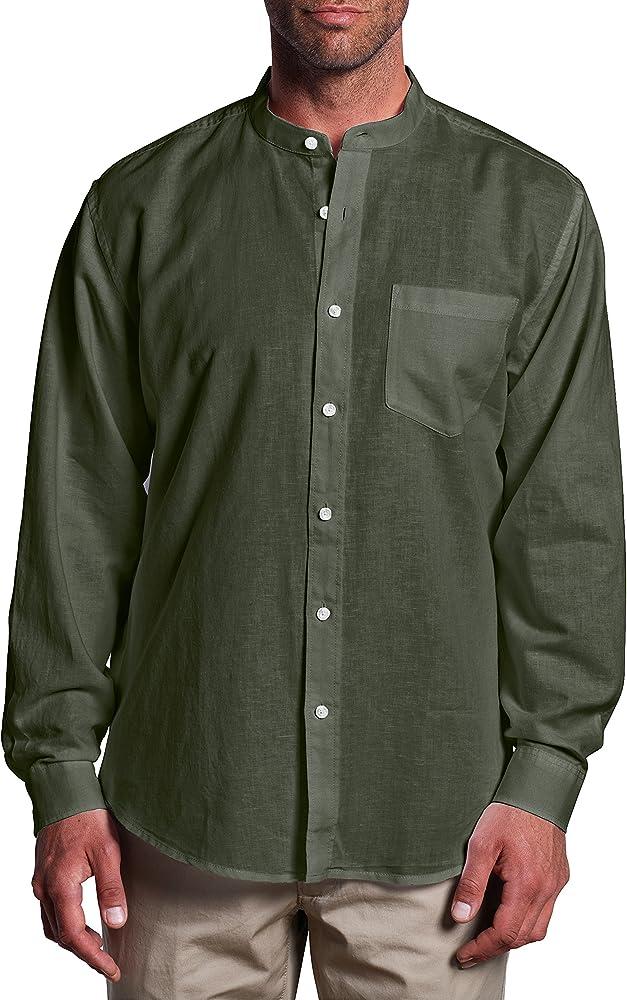 Eddie Bauer - Camisa de Manga Larga con Cuello Mao para Hombre, Color Verde, Talla 48/50: Amazon.es: Ropa y accesorios