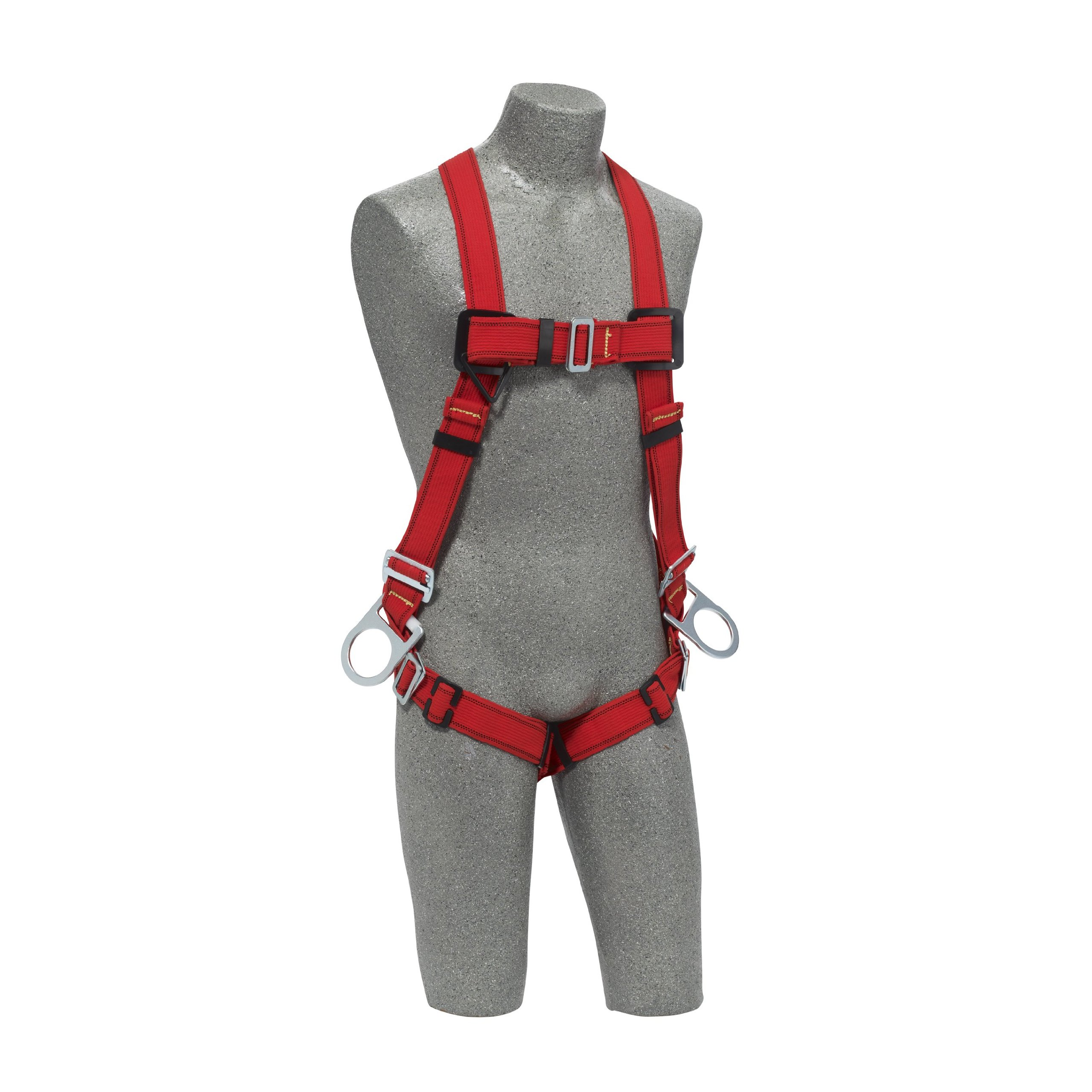 3M Protecta PRO 1191381 Fall Protection Full Body Welders Harness, with 3 D-Rings, Pass Thru Legs, 420 Pound Capacity, Medium/Large, Red/Black