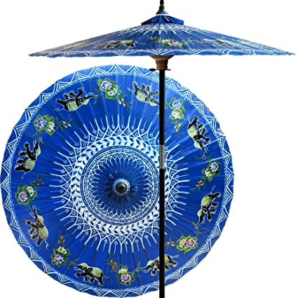 Oriental Decor 7 Foot Tall Handpainted Patio Umbrella   Asian Elephants In  Blue