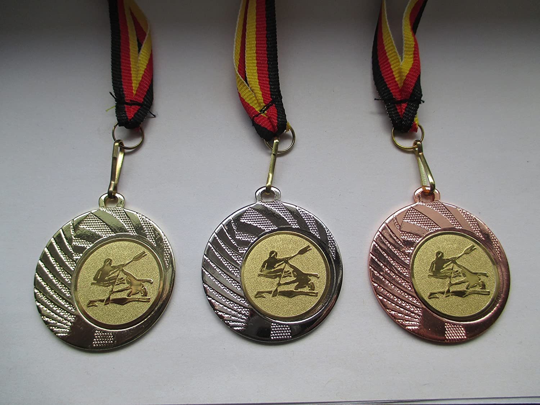 Medaillenset - mit Emblem 25mm Gold Rudern Silber Kanu Kajak - mit Medaillen-Band - Fanshop L/ünen Medaillen Set Gold 40mm Stahl Bronze e262