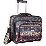One Size Elephant World Traveler Womens Fashion Print Rolling 17 Case Laptop Bag
