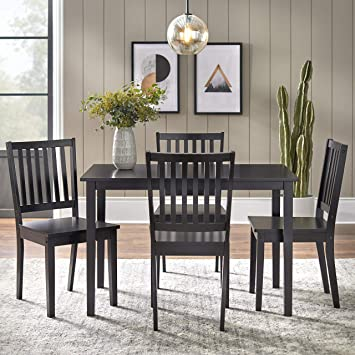 Amazon Com Target Marketing Systems 5 Piece Shaker Dining Set With 4 Slat Back Chairs And 1 Dining Table Black Table Chair Sets