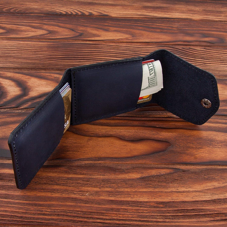 Blue Credit Card Holder Leather Slim Wallet Case for Business Men /& Women Pocket Id