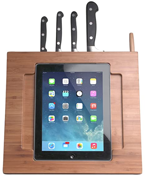 CTA Digital Bamboo Adjustable Kitchen Stand for iPad with Knife Storage  (PAD-BKS)