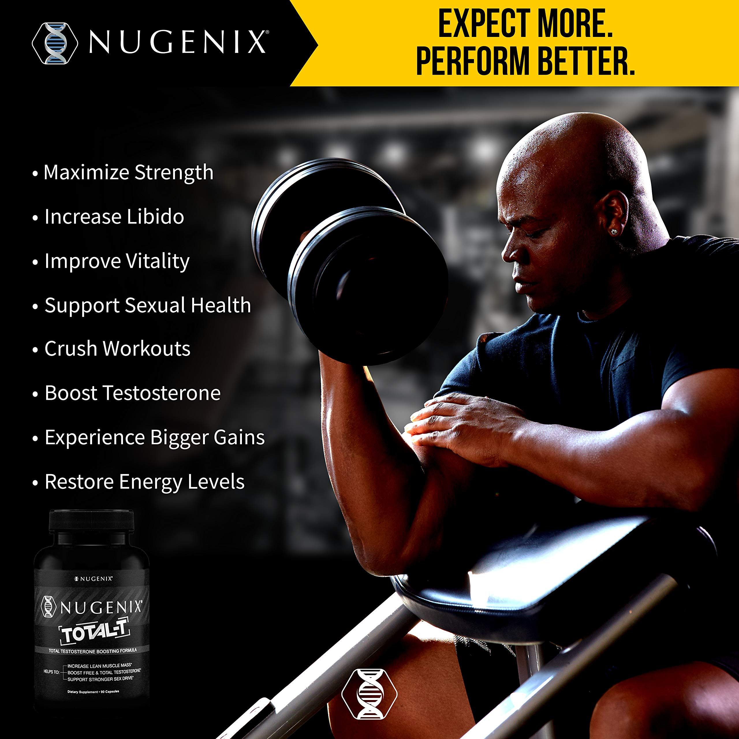 Nugenix Total-T: Men's Total Testosterone Boosting Formula. All New, High Potency, High Bioavailibility Testosterone Boosting Ingredients. Helps with Energy, Muscle, Libido, Stamina, and Drive by Nugenix (Image #5)