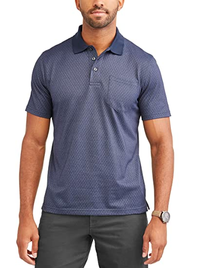 f833e7c6a George Mens Patterned No-Roll Collar Short Sleeve Polo Shirt (Small 34/36