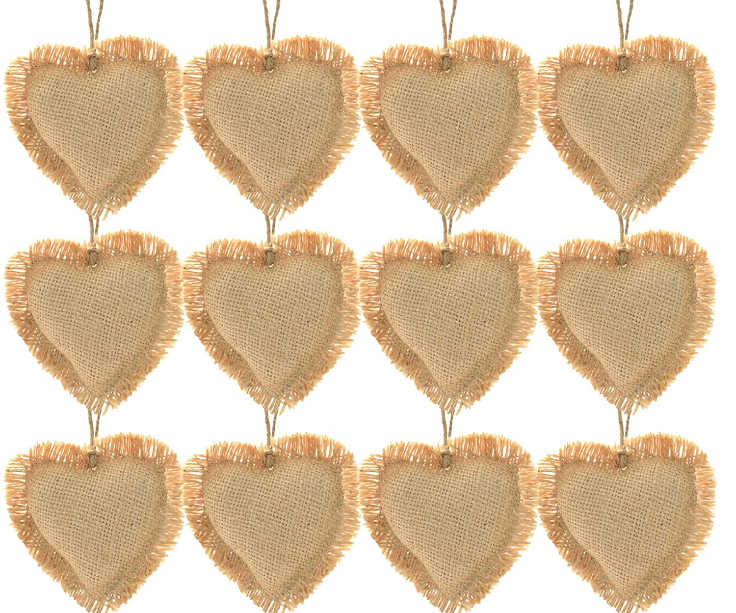 amazon com firefly craft rustic burlap heart ornaments package of 12