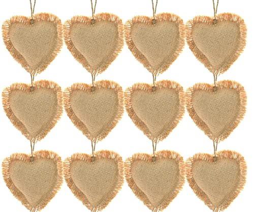 Firefly Craft Rustic Burlap Heart Ornaments, Package of 12