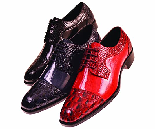7813d0a9d11 ... Amazon.com Bolano Mens Exotic Faux EEL Skin Print with Synthetic Croco Cap  Toe Oxford  Bolano Mens Brown Smooth Double Monk Strap Dress Shoe ...