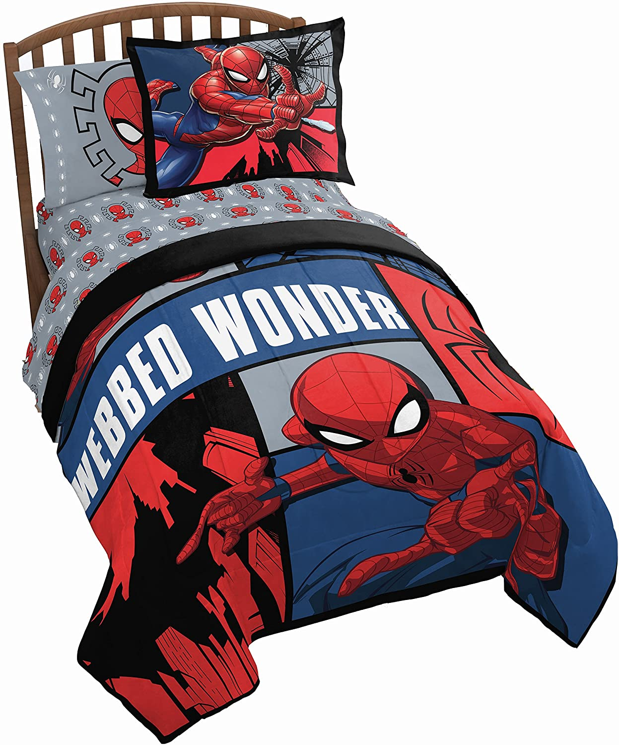 Jay Franco Marvel Spiderman Webbed Wonder Twin Comforter - Super Soft Kids Reversible Bedding Includes Bonus Sham - Fade Resistant Polyester Microfiber Fill (Official Marvel Product)