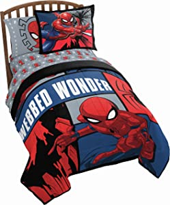 Jay Franco Marvel Spiderman Webbed Wonder Twin Comforter - Super Soft Kids Reversible Bedding Includes Bonus Sham - Fade Resistant Polyester Microfiber Fill (Official Marvel Product)