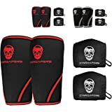 Elbow Sleeves (1 Pair) W/ Wrist Wraps - Elbow Brace For Support & Compression for Powerlifting, Weightlifting, Bench & Tendonitis - Gymreapers 5mm Neoprene - For Men & Women - 1 Year Warranty