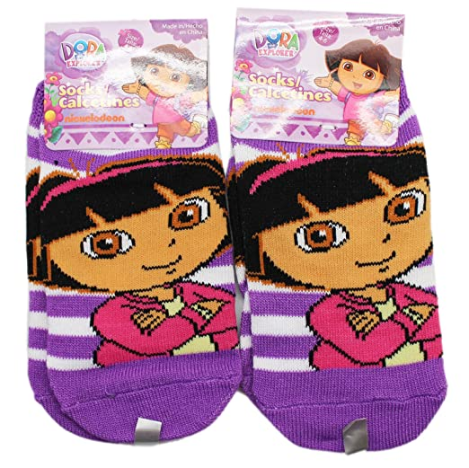 Dora the Explorer Violet and White Striped Kids Socks (1 Pair, Size 4-
