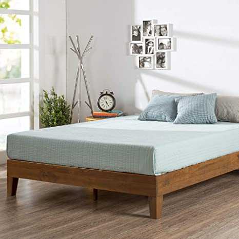 Amazon Com Zinus Alexis Deluxe Wood Platform Bed Frame Solid Wood Foundation No Box Spring Needed Wood Slat Support Easy Assembly Rustic Pine Queen Furniture Decor