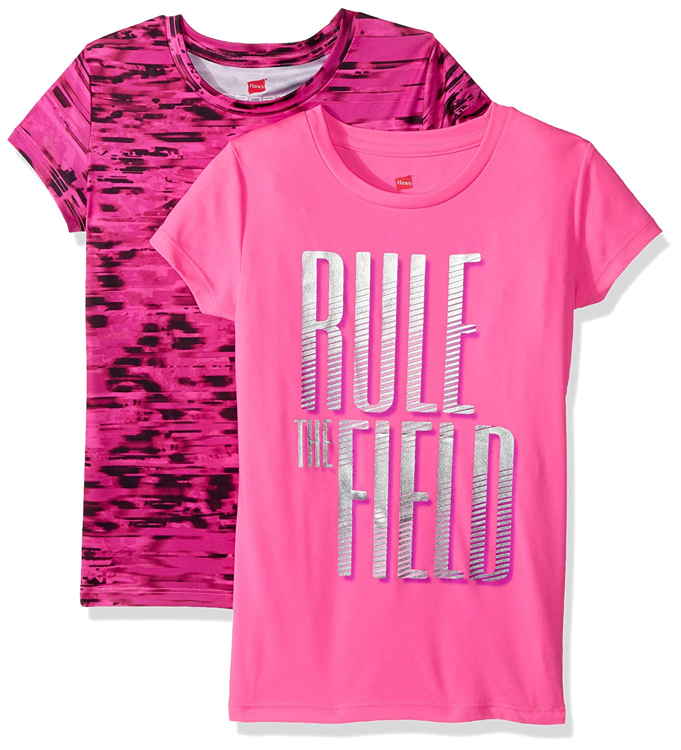 Hanes Girls Big Sport Graphic /& Printed Performance Tee Pack of 2