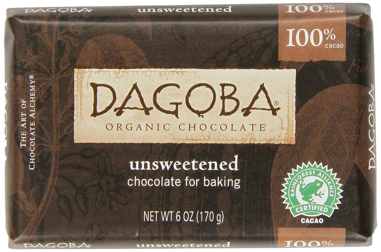 Amazon.com : DAGOBA Unsweetened Baking Chocolate Bar (100% Cacao ...