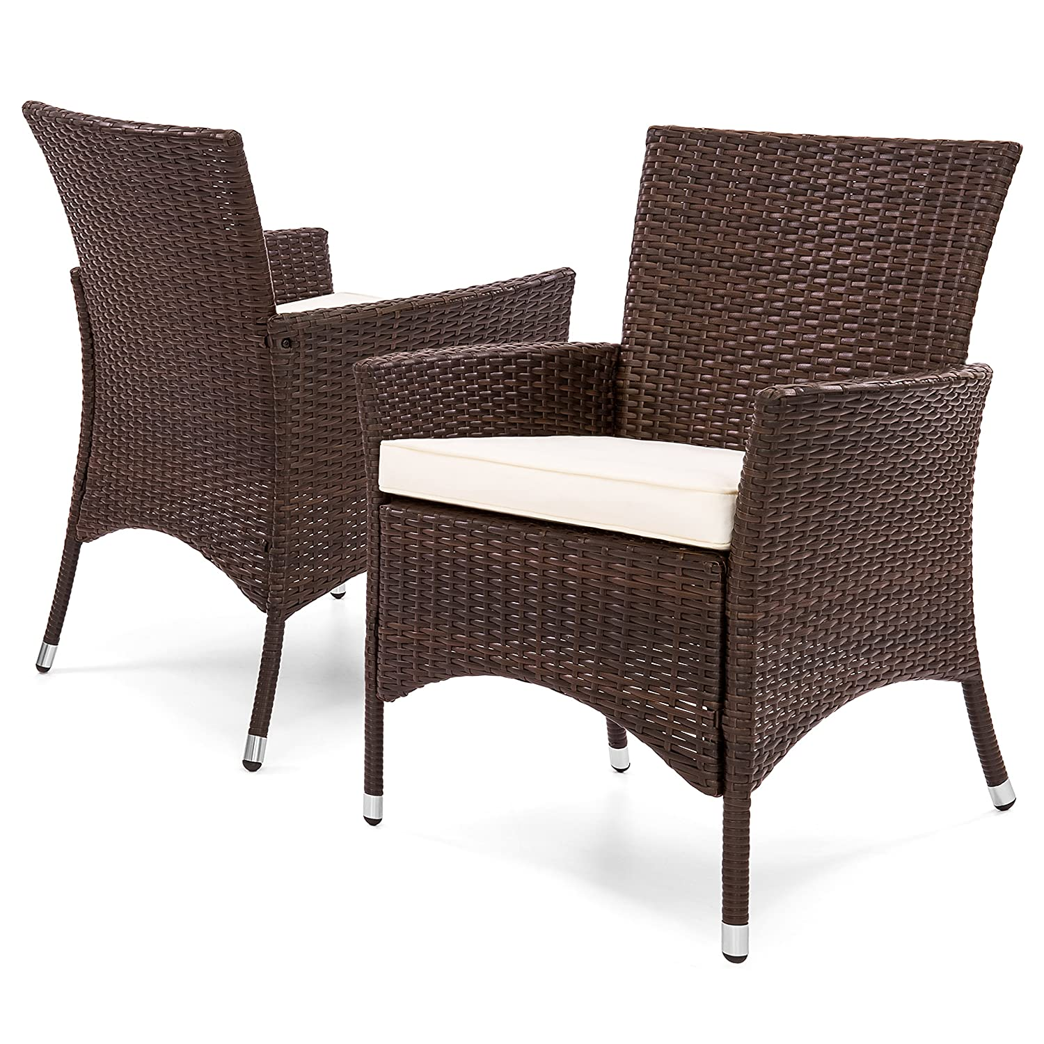Amazon com best choice products set of 2 modern contemporary wicker patio dining chairs w water resistant cushion brown garden outdoor