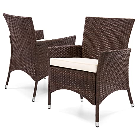 Incredible Best Choice Products Set Of 2 Modern Contemporary Wicker Patio Dining Chairs W Water Resistant Cushions Ocoug Best Dining Table And Chair Ideas Images Ocougorg