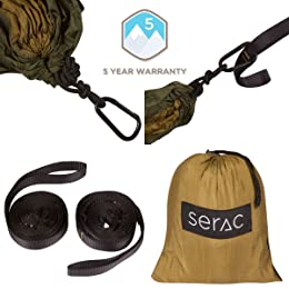 Serac Classic Portable Single Camping Hammock with Suspension System
