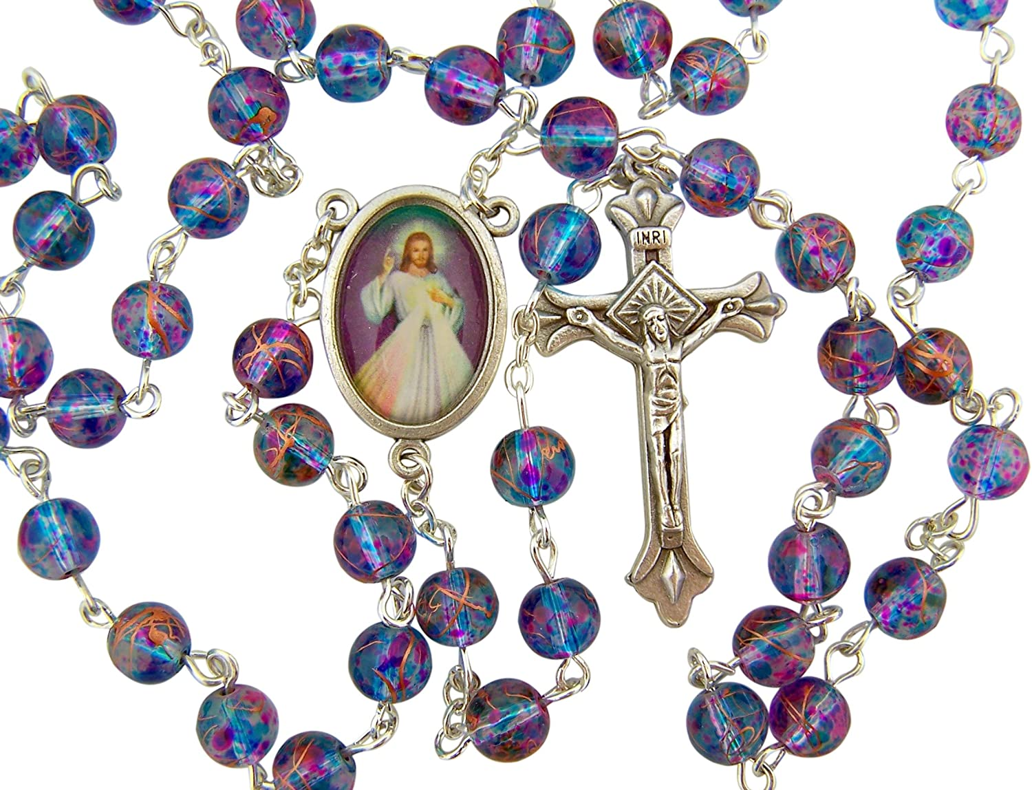 CB Silver Plated 7MM Multi Color Glass Bead with Divine Mercy Centerpiece Rosary Necklace, 18""