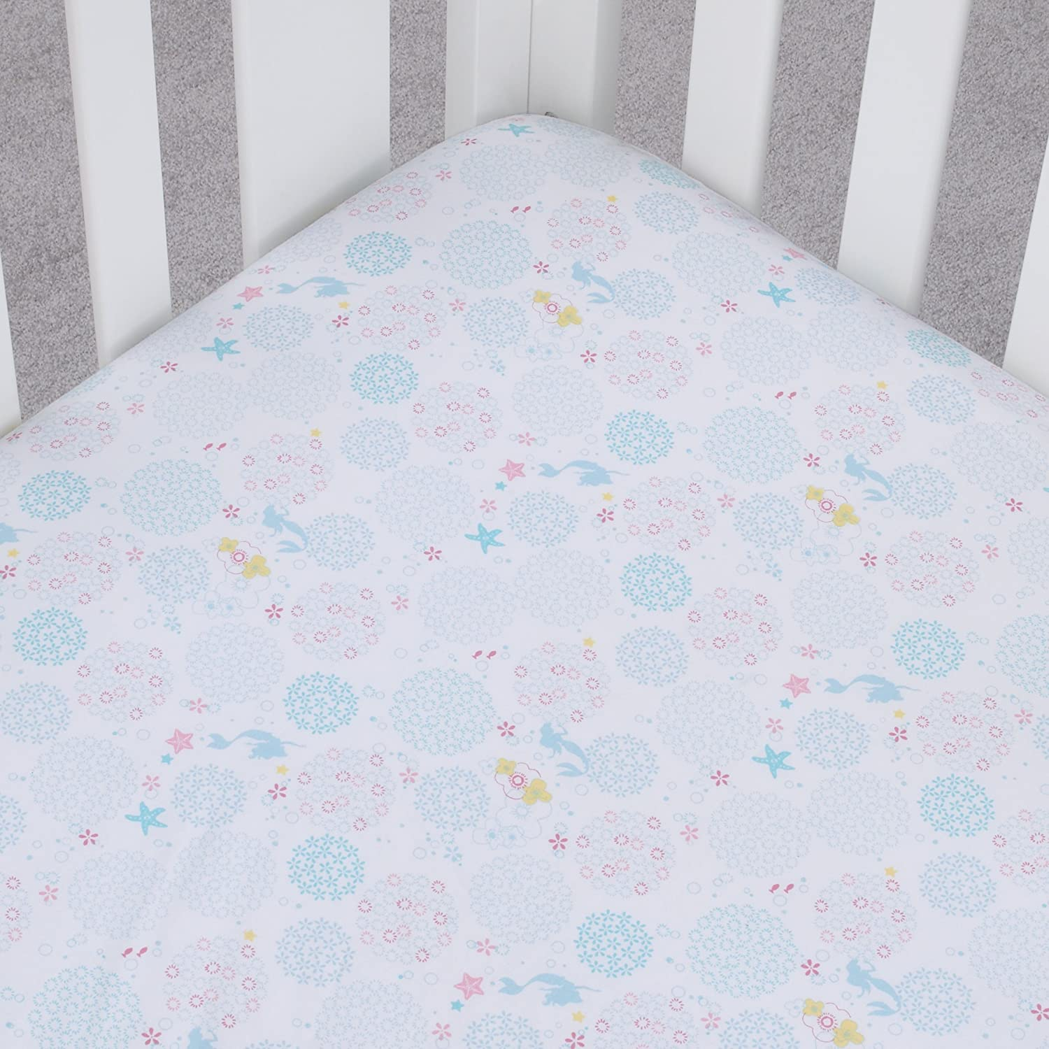 Ivory Disney Winnie the Pooh Classic Pooh 100/% Cotton Fitted Crib Sheet in Ivory Aqua Orange Butter Butter Aqua and Orange