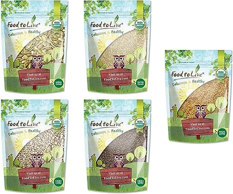 Semillas crudas de ceto orgánico en una caja de regalo - un paquete variado de semillas de calabaza, semillas de sésamo, semillas de girasol, semillas de chía y semillas de lino dorado: