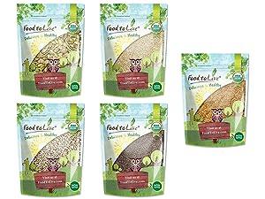 Organic Keto Raw Seeds in a Gift Box - Pumpkin Seeds, Sesame Seeds, Sunflower Seeds, Chia Seeds, Golden Flax Seeds