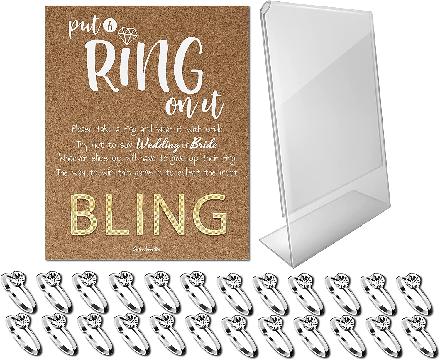 Bridal Shower Games - Put a Ring on It Bridal Shower Game with Fake Rings, Bridal Shower Decor, Bridal Shower Decorations, Bridal Shower Games for Guests (Craft - Silver 24 Count)