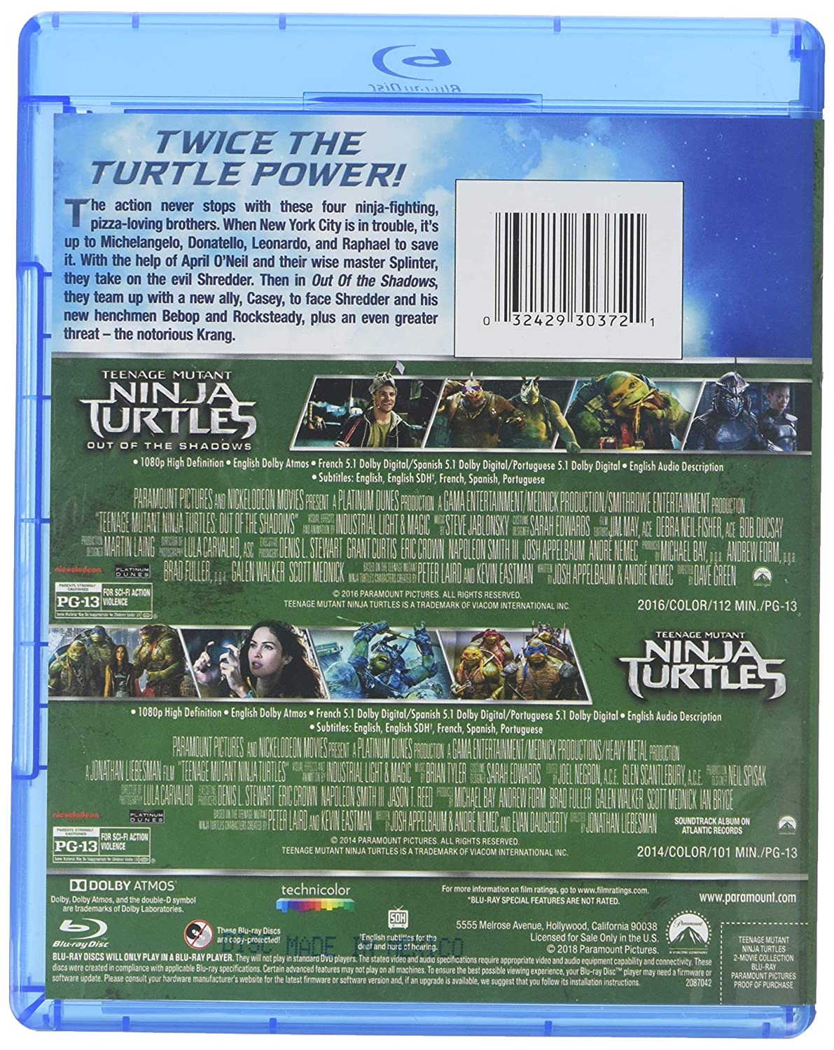 Teenage Mutant Ninja Turtles 2-Movie Collection 2 Blu-Ray ...