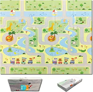 Fun N Well Foldable XPE Baby Play Mat   King Size 197x178x1cm   Non Allergenic & Non Toxic Foam   Waterproof & Reversible   Fun & Playful Design for Your Kids to Explore   Free Carry Bag for Easy Travel & Storage (Animal Park / Lucky Star)