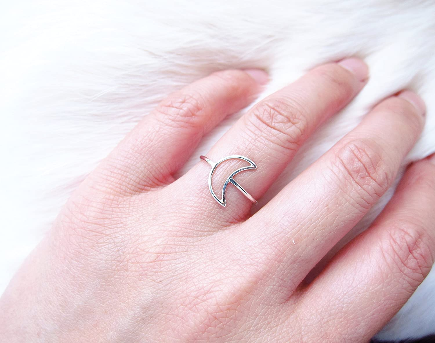 Amazon.com: Dainty Crescent Moon Ring Sterling Silver Gold: Handmade