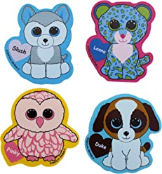 Ty Beanie Boos Jumbo Die Cut Character Erasers, 3.25 x 2.75 Inches Each, Pack