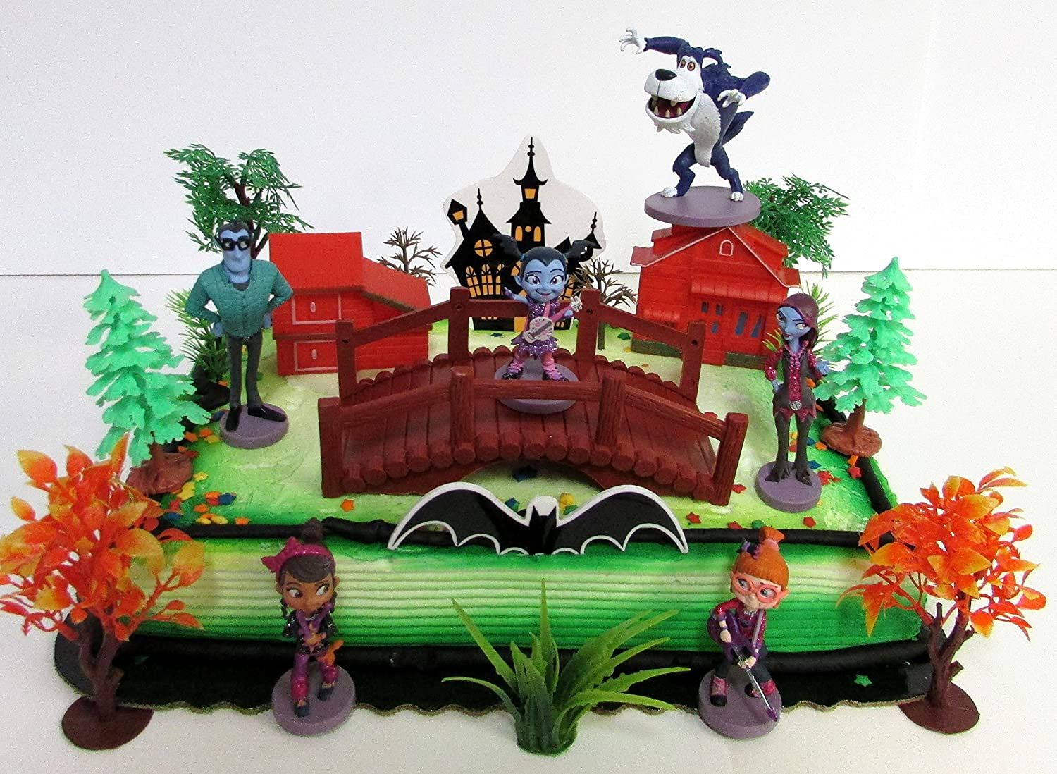 Vampirina Birthday Cake Topper Set Featuring Vee and Friends Figures and Decorative Themed Accessories