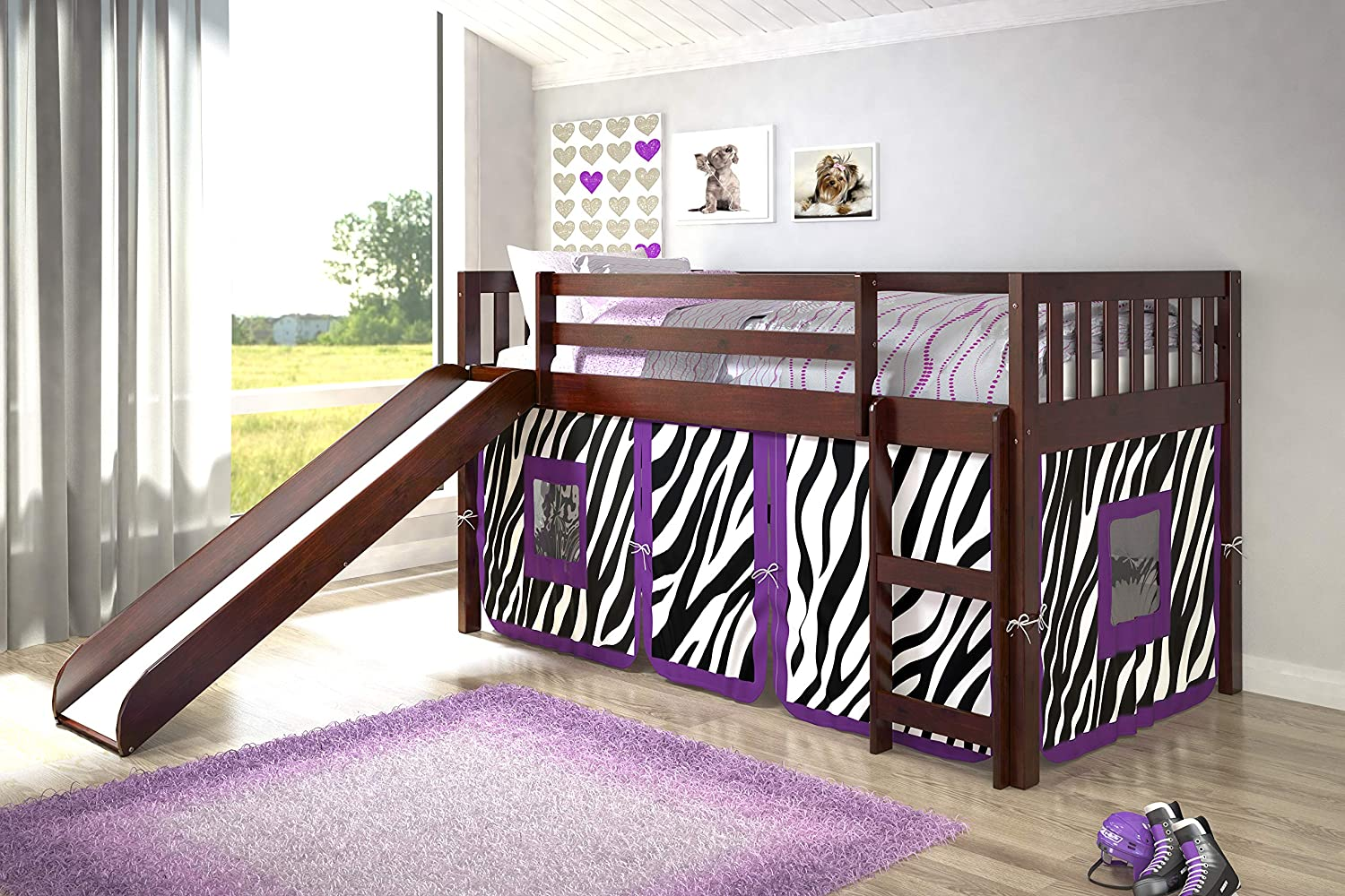 Donco Kids Mission Low Loft Bed with Slide and Zebra Tent, Twin, Dark Cappuccino