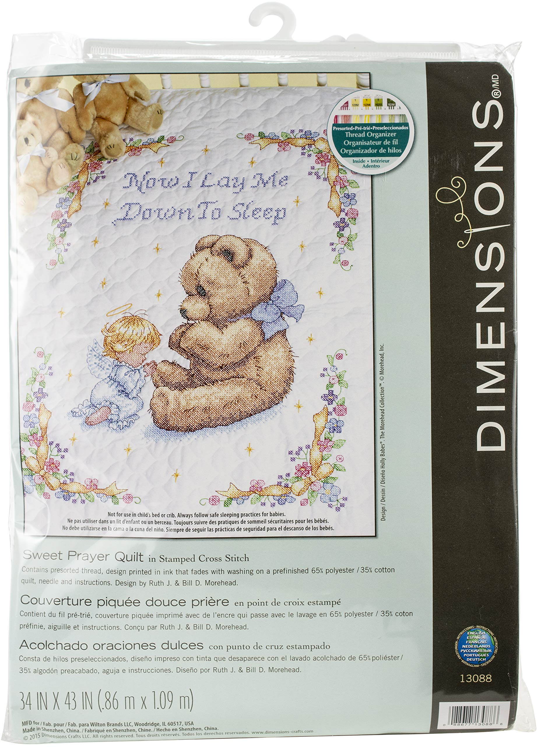 Dimensions Stamped Cross Stitch Sweet Prayer DIY Baby Quilt Kit, 34'' x 43'' by Dimensions