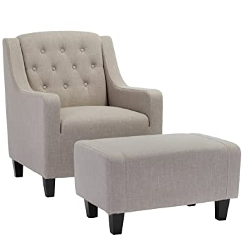 chair and footstool. empierre beige linen club chair \u0026 footstool set and c