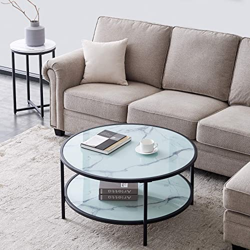 HOMMOO Modern 38″ Round Glass Coffee Table 2-Tier Storage Shelf End Table