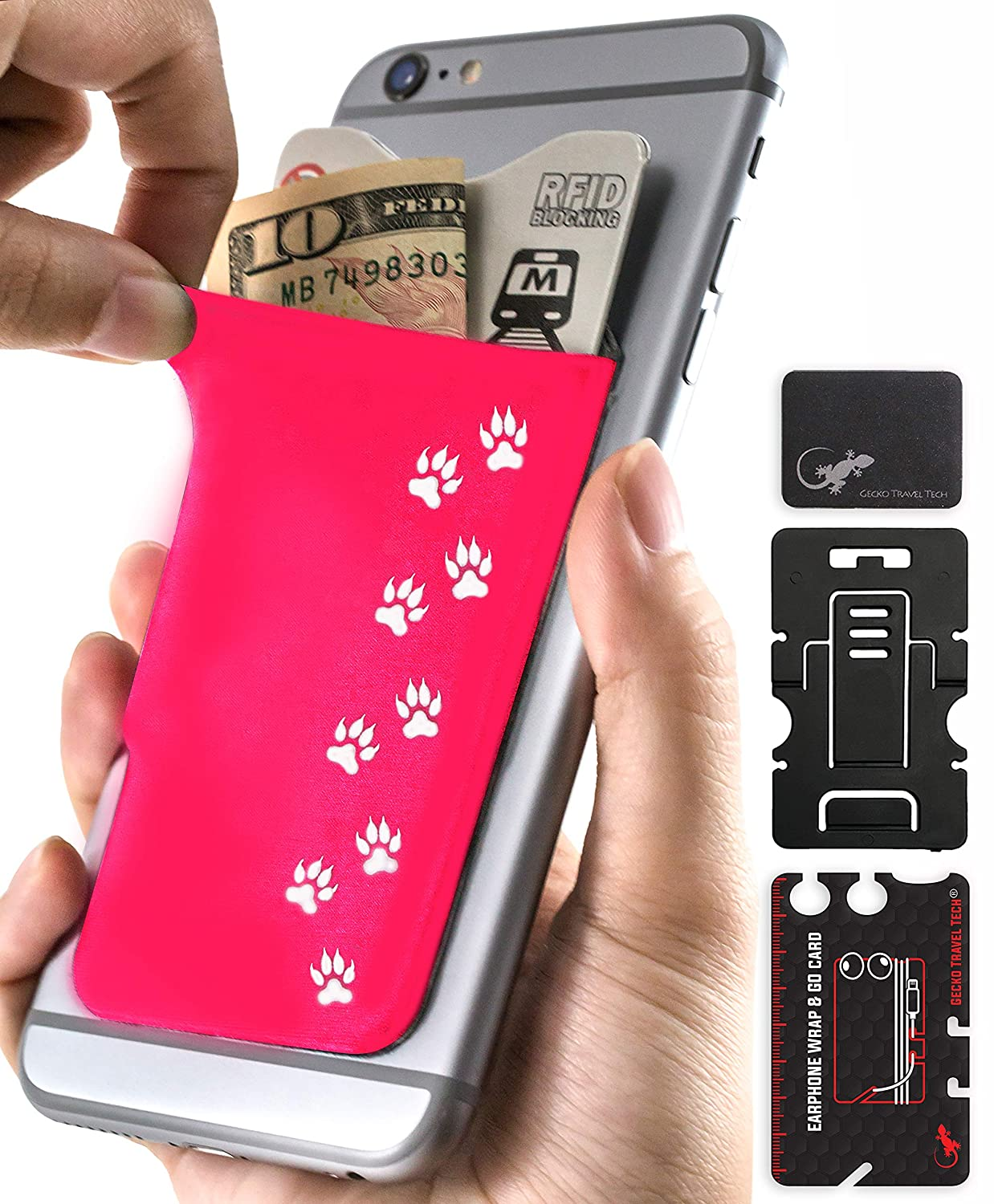 free shipping a8d4a b29c9 Sticky Card Holder for Phone - Mobile Phone Stand - Adhesive Card Holder -  Phone Pouch - Stick on Lycra Pocket by Gecko - Carry Credit Cards and Cash  ...
