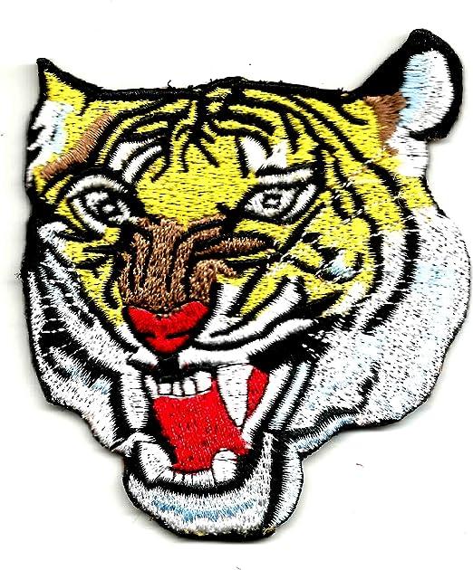 Angry Tiger agresiva cabeza de tigre naranja | bordado de alta ...