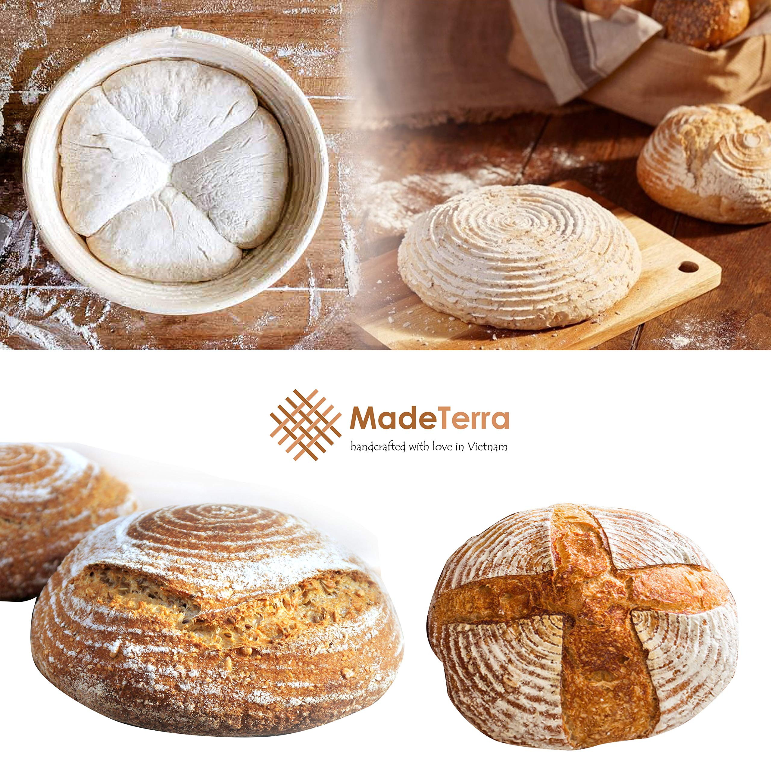 9 inch Banneton Proofing Baskets for Sourdough Bread | Wicker Round Brotform Set with Bamboo Dough Scraper & Cloth Liners | Food-Safe Cane Bread Proofer for Rising (3 Pack 9'' Round Bannetons) by Made Terra (Image #3)
