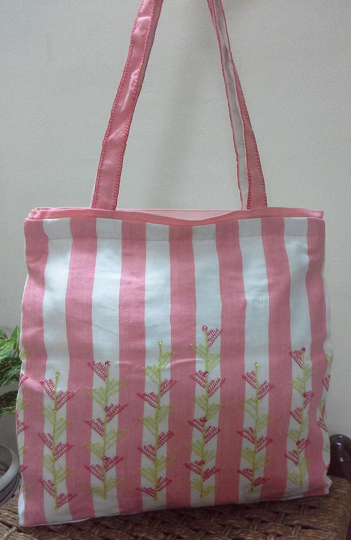 a7eb6947b3a6 Amazon.com  Panigha India Handmade Fresh Pink n White Stripe Cotton Fabric  Bag with bright color hand embroidery  Handmade