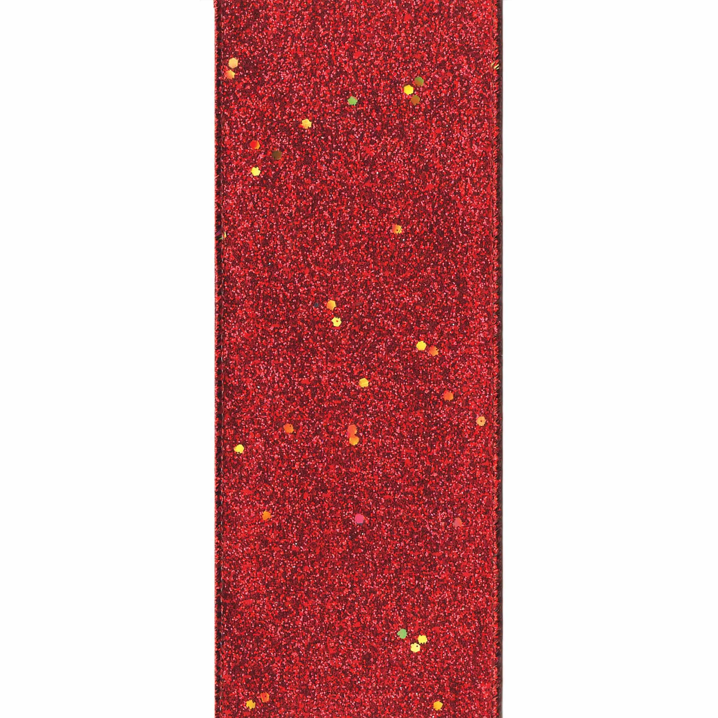 Offray Wired Edge Glitterie Craft Ribbon, 1 1/2-Inch x 9-Feet, Red
