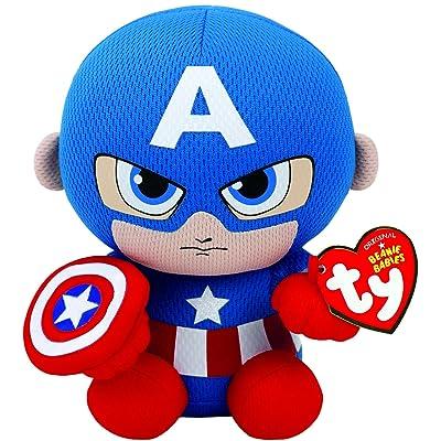 Ty Captain America Plush, Blue/Red/White, Regular: Toys & Games